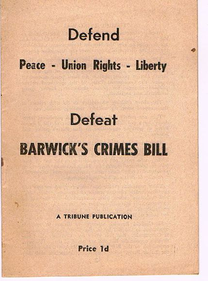 Defend Peace - Unions Rights - Liberty: Defeat Barwick